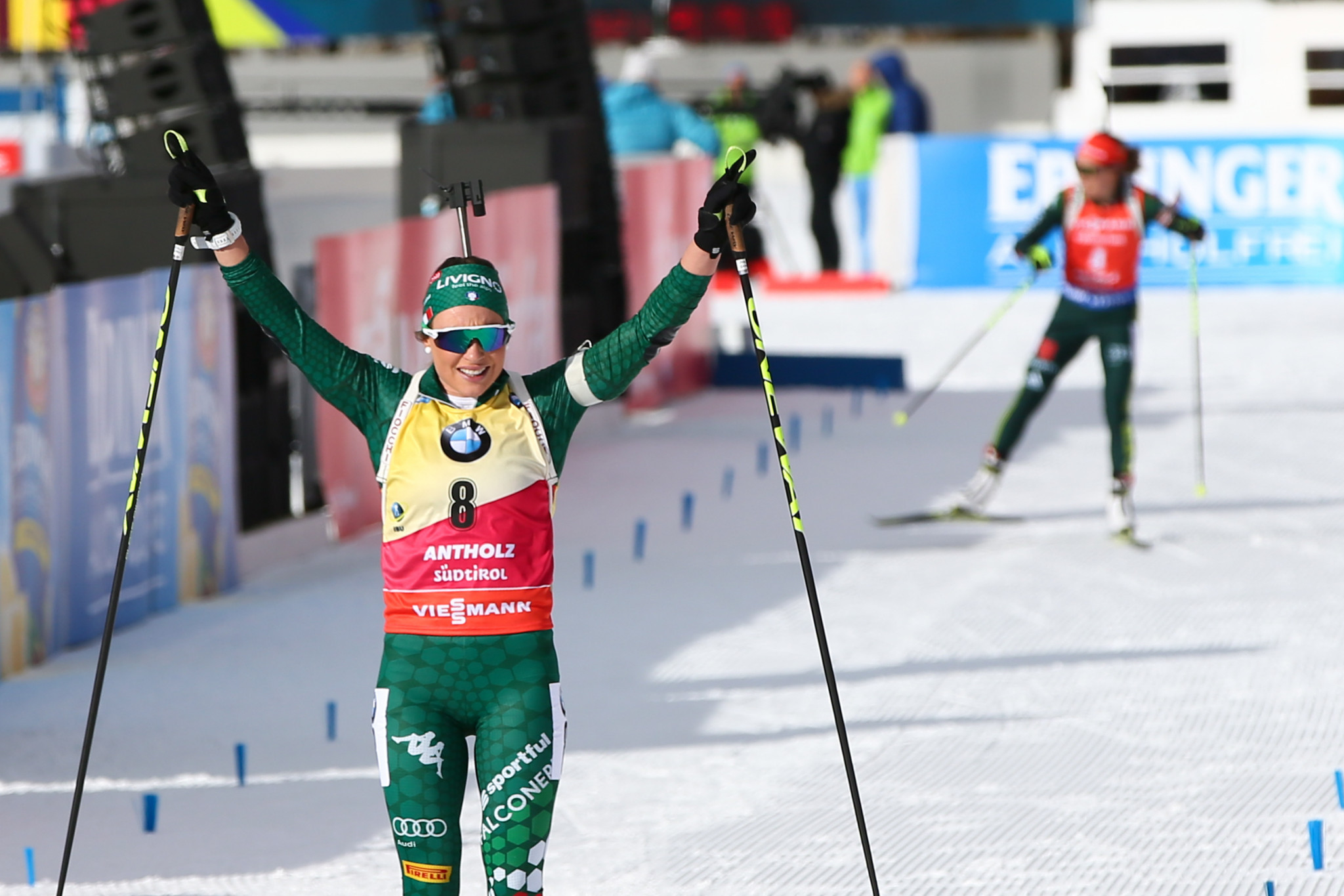 Italy's Dorothea Wierer maintained her lead at the top of the overall standings with victory in the women's pursuit ©Getty Images