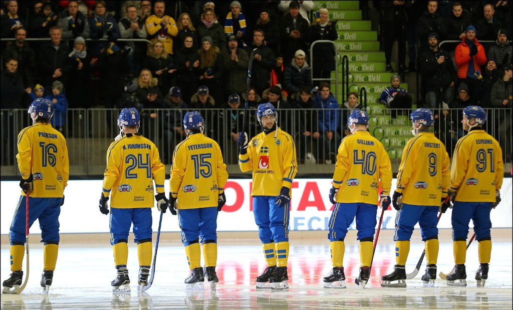 Hosts Sweden beat defending champions Russia in front of a home crowd at the Arena Vänersborg ©2019 Bandy World Championships