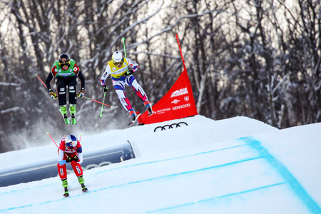 Action went ahead in Blue Mountain after poor weather cancelled yesterday's qualification ©FIS