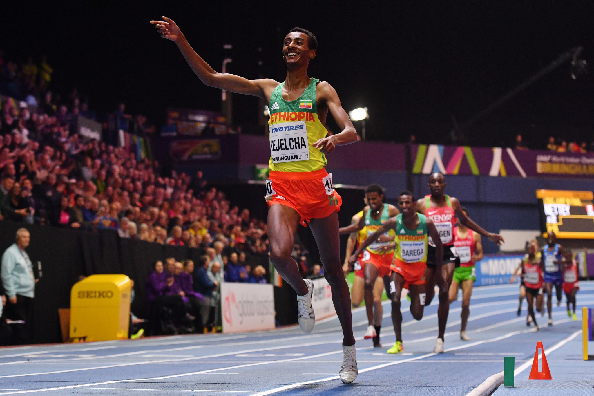 Yomif Kejelcha won the men's 3,000m - one of many world leading times ©Getty Images