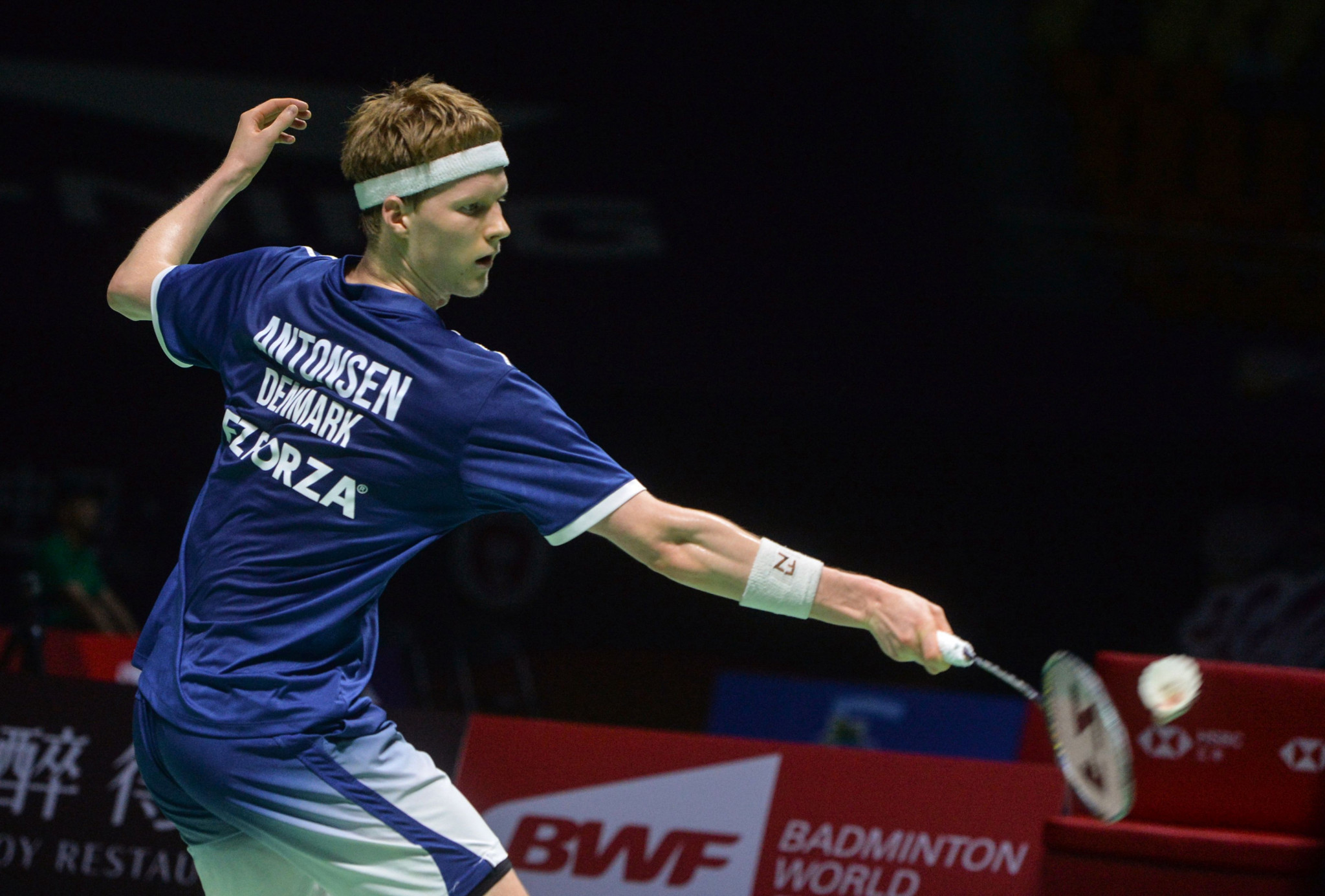 Anders Antonsen of Denmark secured his first major title as he stunned top seed and reigning world champion Kento Momota ©Getty Images