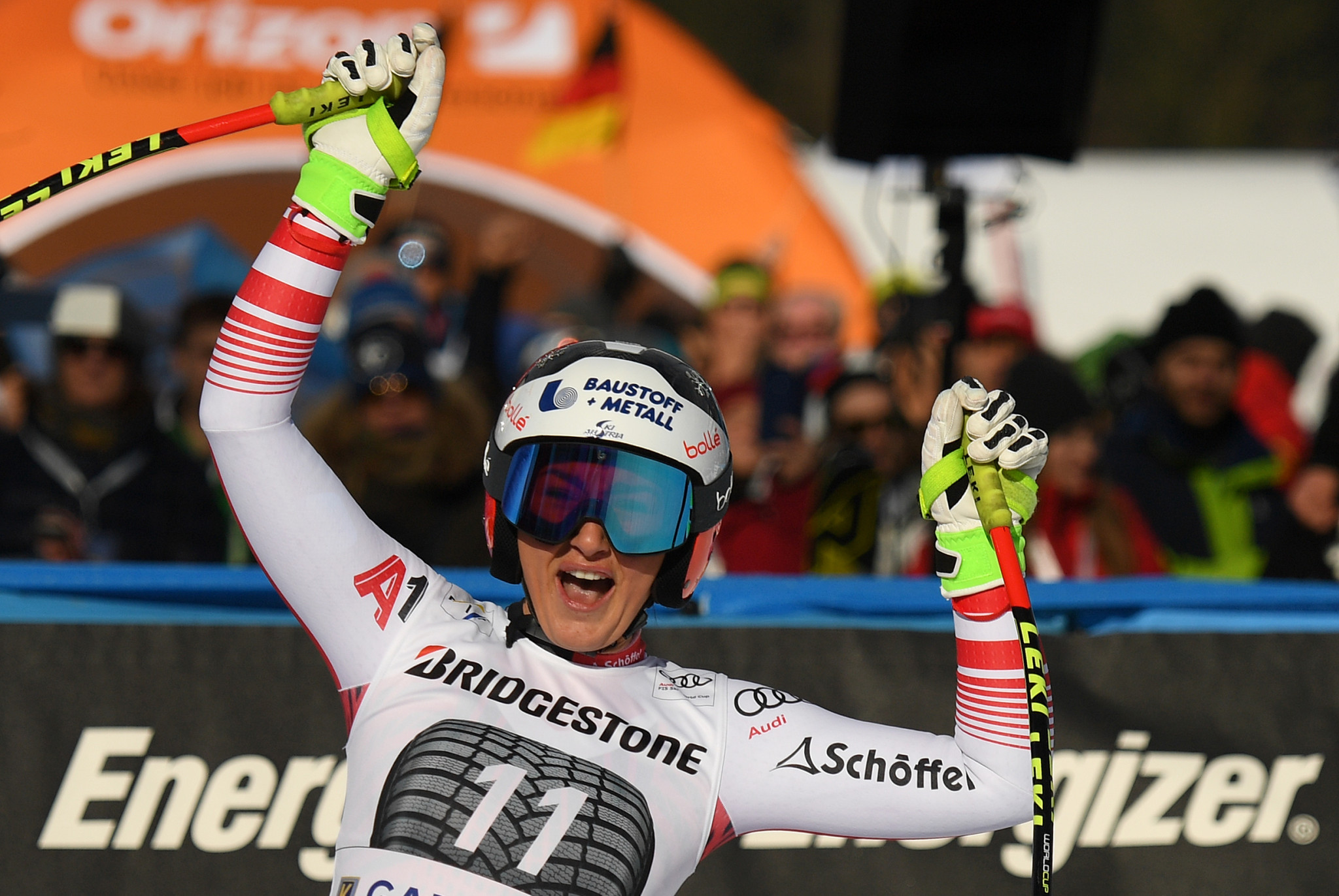 Stephanie Venier triumphed in the women's downhill in Garmisch to claim the first World Cup win of her career ©Getty Images