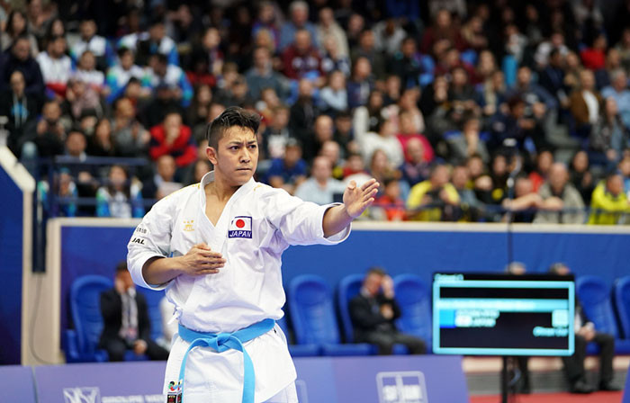 Ryo Kiyuna backed up his World Championship victory with gold in the men's kata in Paris ©WKF