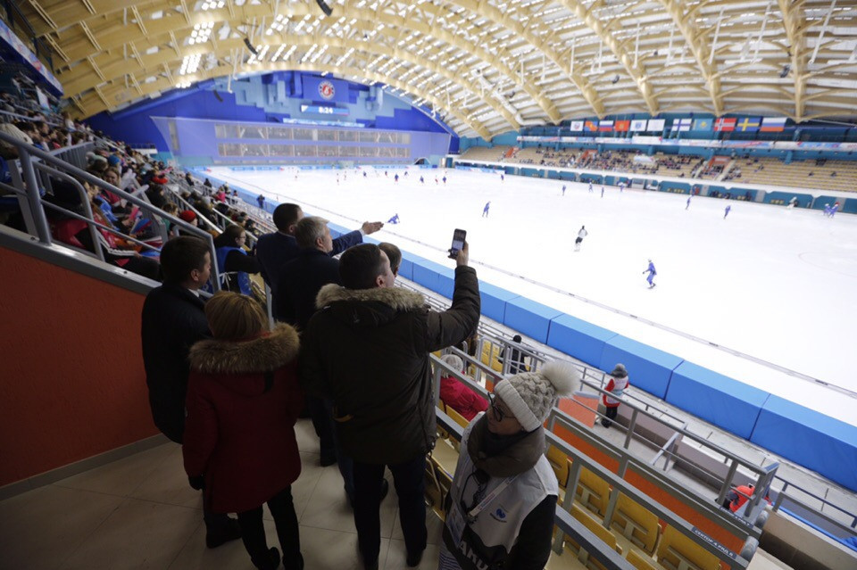 Among the venues visited was the Yenisei Ice Stadium, which will host bandy ©Krasnoyarsk 2019