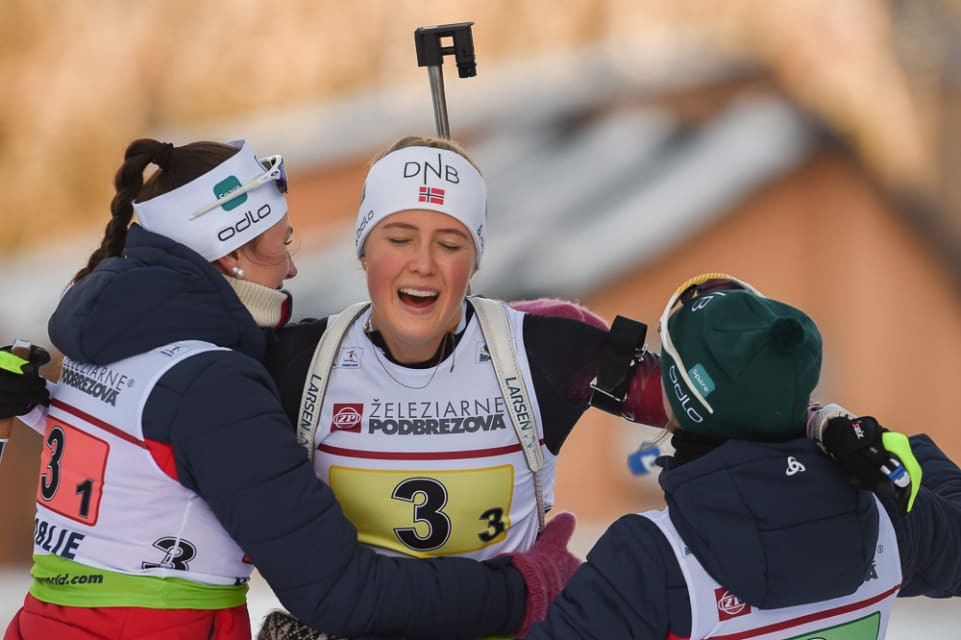 Norway triumphed in the women's 3x6km youth relay in the Slovakian resort ©IBU
