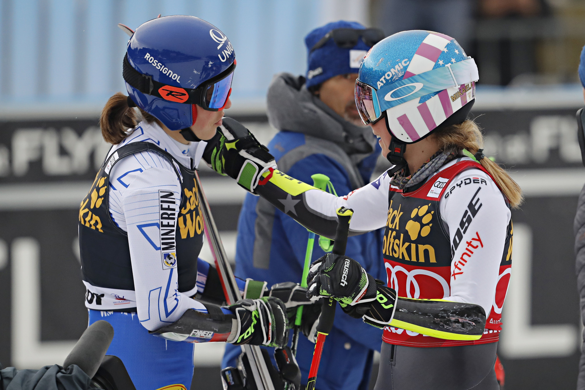 Petra Vlhová, left, and Mikaela Shiffrin, right, shared victory at the FIS Alpine Skiing World Cup in Maribor ©Getty Images