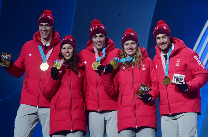Switzerland were gold medallists at the first Olympic Alpine mixed team event at Pyeongchang Games 2018 ©Getty Images