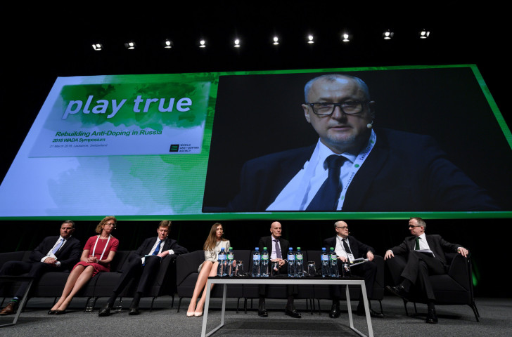 Russian Anti-Doping Dgency director general Yury Ganus is seen on a giant screen during last year's World Anti-Doping Agency Annual Symposium - Gian-Franco Kasper has backed WADA after they reinstated RUSADA ©Getty Images