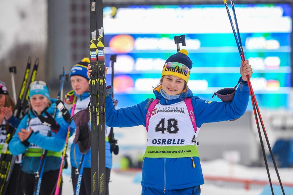 Ukraine's Ekaterina Bekh won the junior women's sprint by 12.1 seconds ©IBU