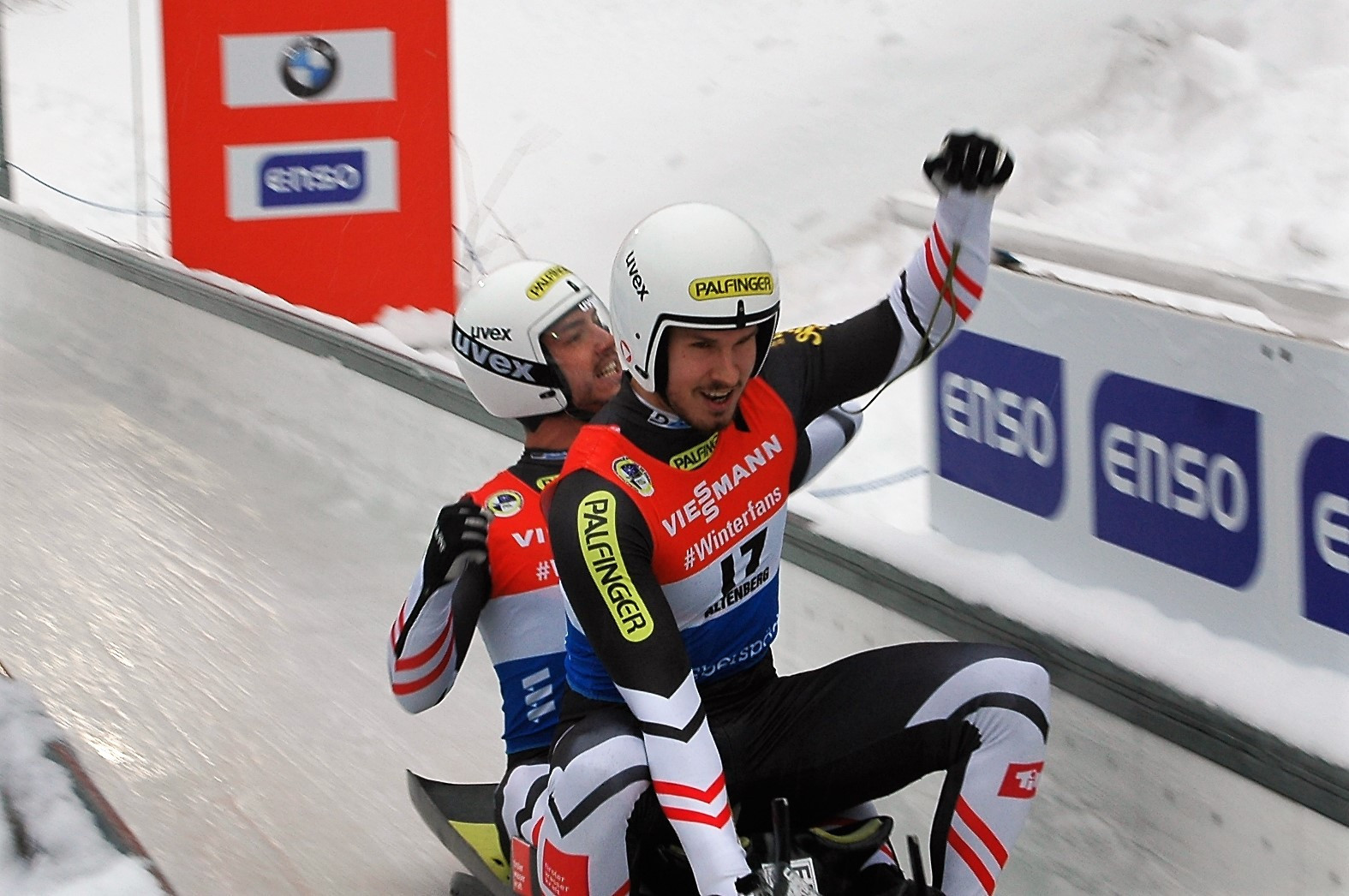 Austrian duo Thomas Steu and Lorenz Koller got their third victory of the season in Altenberg ©FIL