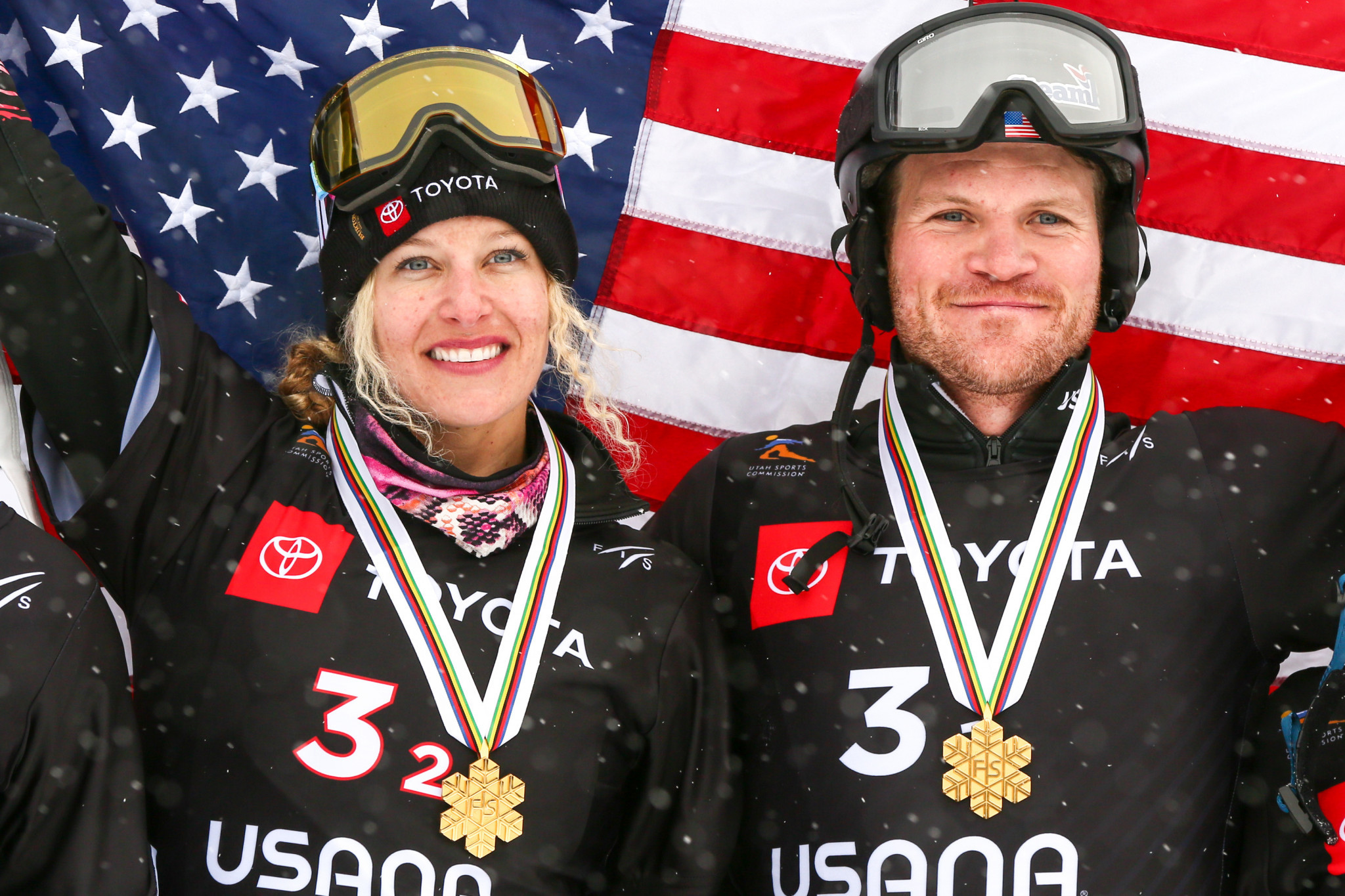 Lindsey Jacobellis and Mick Dierdorff came together to win the first world mixed team snowboard cross title in Utah ©Getty Images