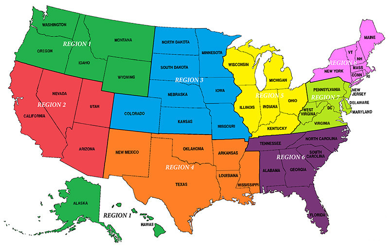 The United States has been divided into eight different regions ©USA Taekwondo