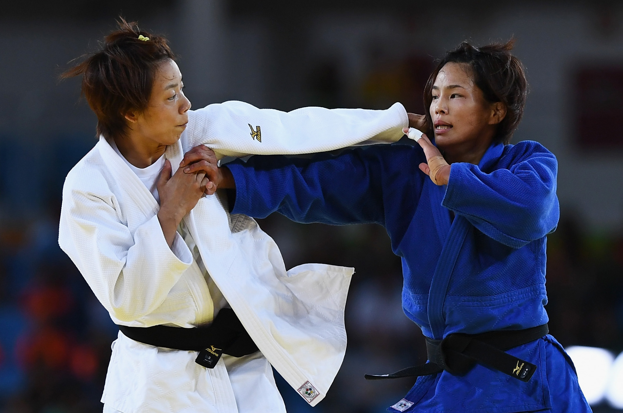 Japan's Kaori Matsumoto, in blue, won an Olympic bronze medal at Rio 2016 alongside her London 2012 gold ©Getty Images