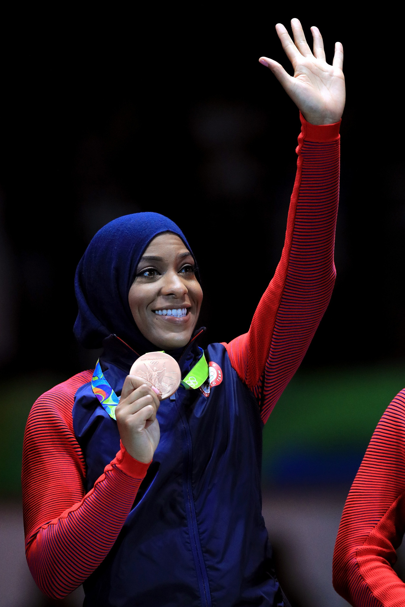 At Rio 2016, fencer Ibtihaj Muhammad became the first Muslim-American woman to win an Olympic medal, competing in a hijab as she was part of the squad that took the bronze in the team sabre event ©Getty Images