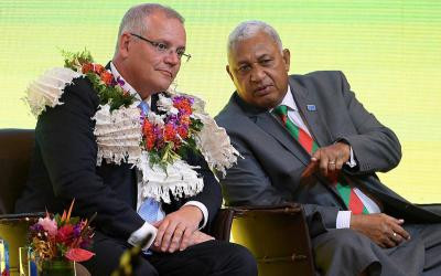 Australia's Prime Minister Scott Morrison and Fiji's Prime Minister Josaia Voreqe Bainimarama announced that the Pacific Sports Partnership would extend to the Fijian national netball team ©Prime Minister of Australia