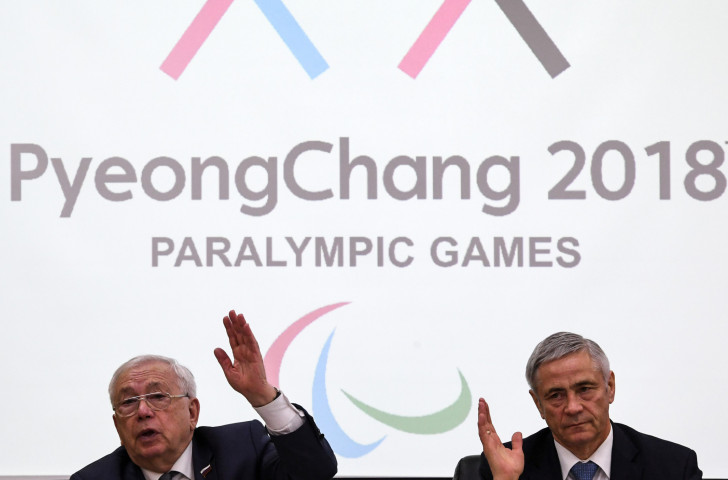 Russian Paralympic Committee President Vladimir Lukin, left, and RPC first vice-president Pavel Rozhkov pictured at a Moscow press conference last February to discuss the exclusion of Russian Para-athletes from the Pyeongchang 2018 Games ©Getty Images
