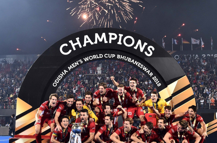 Belgium celebrate their shoot-out victory over The Netherlands in the final of last year's FIH men's World Cup in India - which is now bidding to host either the men's or women's World Cup in 2023 ©Getty Images