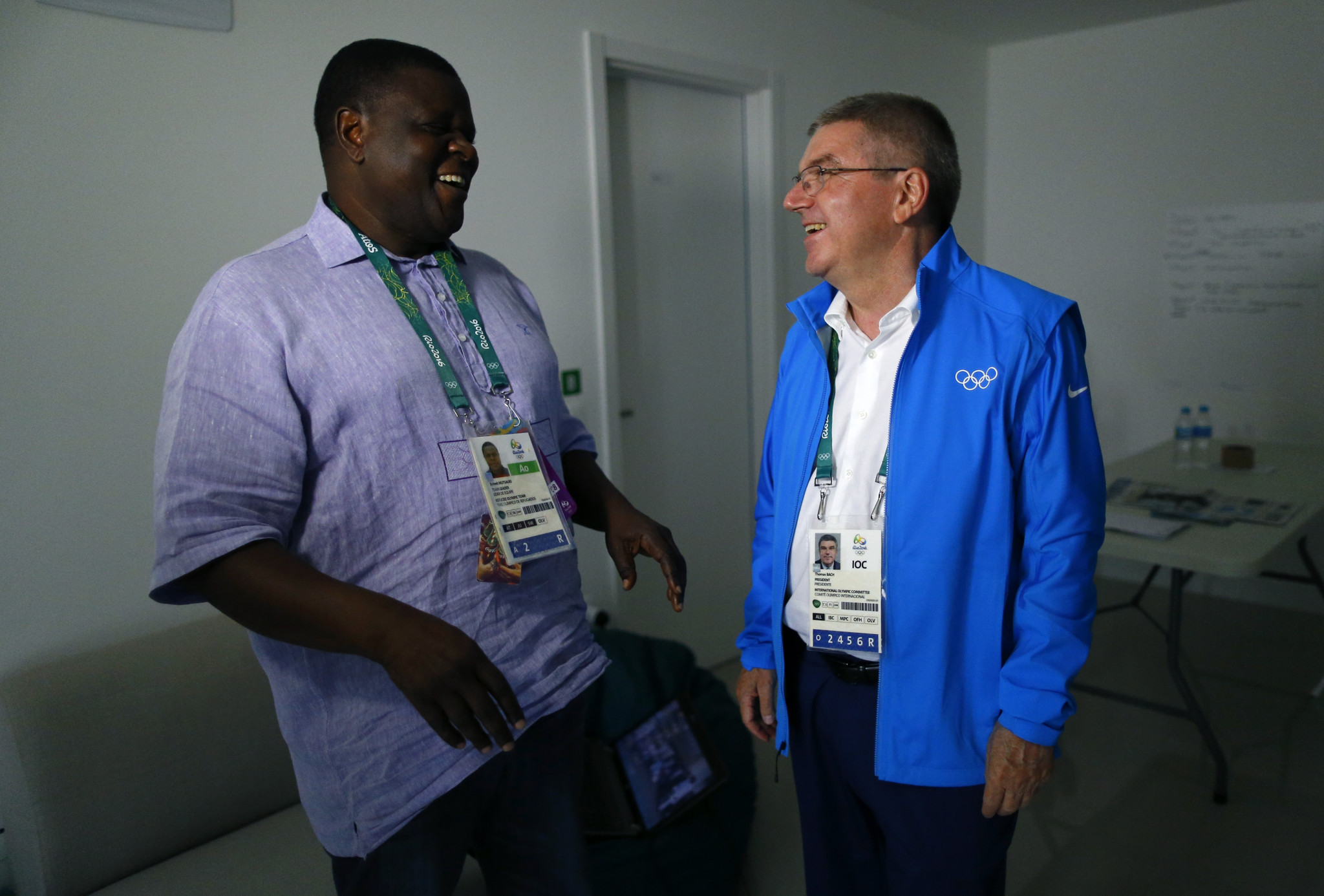 Robert Mutsauki, pictured here with International Olympic Committee President Thomas Bach, has been hired to draft the National Olympic Committee of Kenya's strategic plan for 2019 to 2024 ©Getty Images