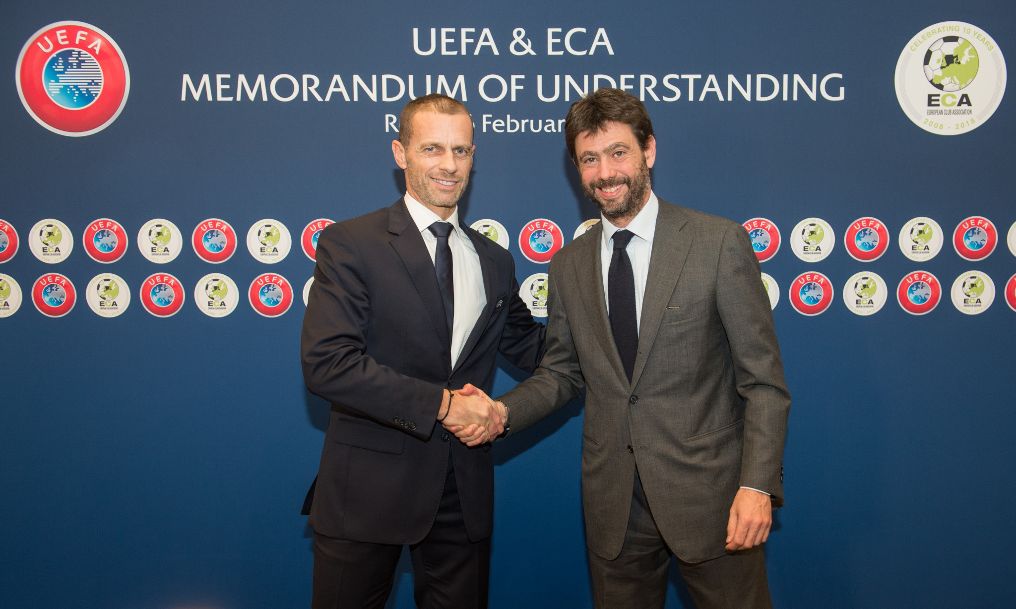 A renewed Memorandum of Understanding was signed by UEFA and the European Club Association in Rome today ©UEFA