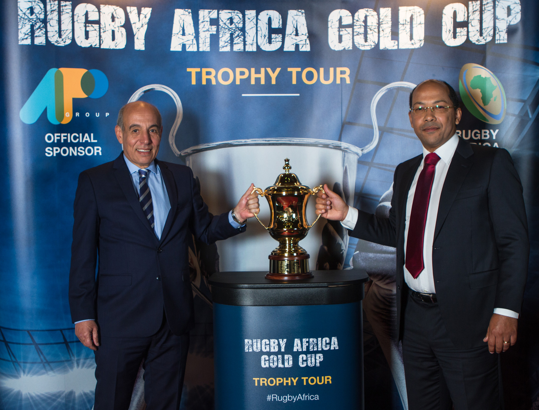 Rugby Africa President Abdelaziz Bougja, left, is set to be succeeded in the role after 17 years ©Getty Images