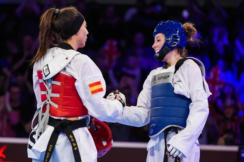 Jade Jones (right) earned a thrilling gold at the WTF Grand Prix ©WTF