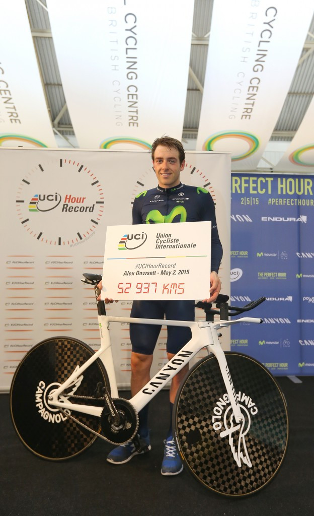 British star Dowsett breaks world hour cycling record in Manchester