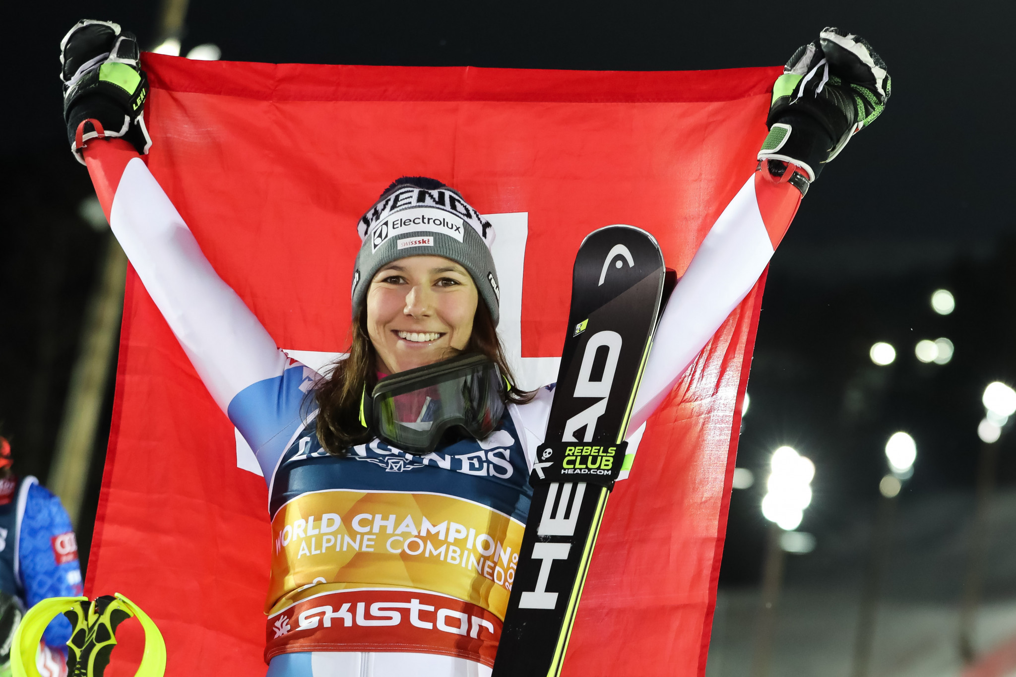 Switzerland's Wendy Holdener is only the fifth woman to defend their alpine combined world title ©Getty Images