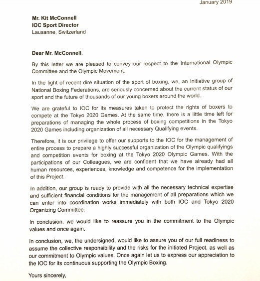 The letter was sent to IOC sports director Kit McConnell ©AIBA