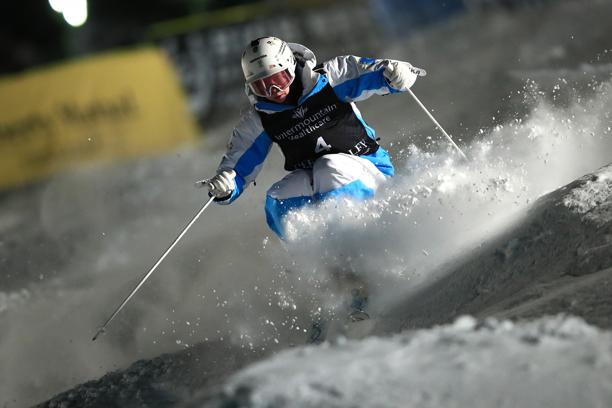 Yulia Galysheva of Kazakhstan claimed a surprise victory in the women's moguls event ©Getty Images