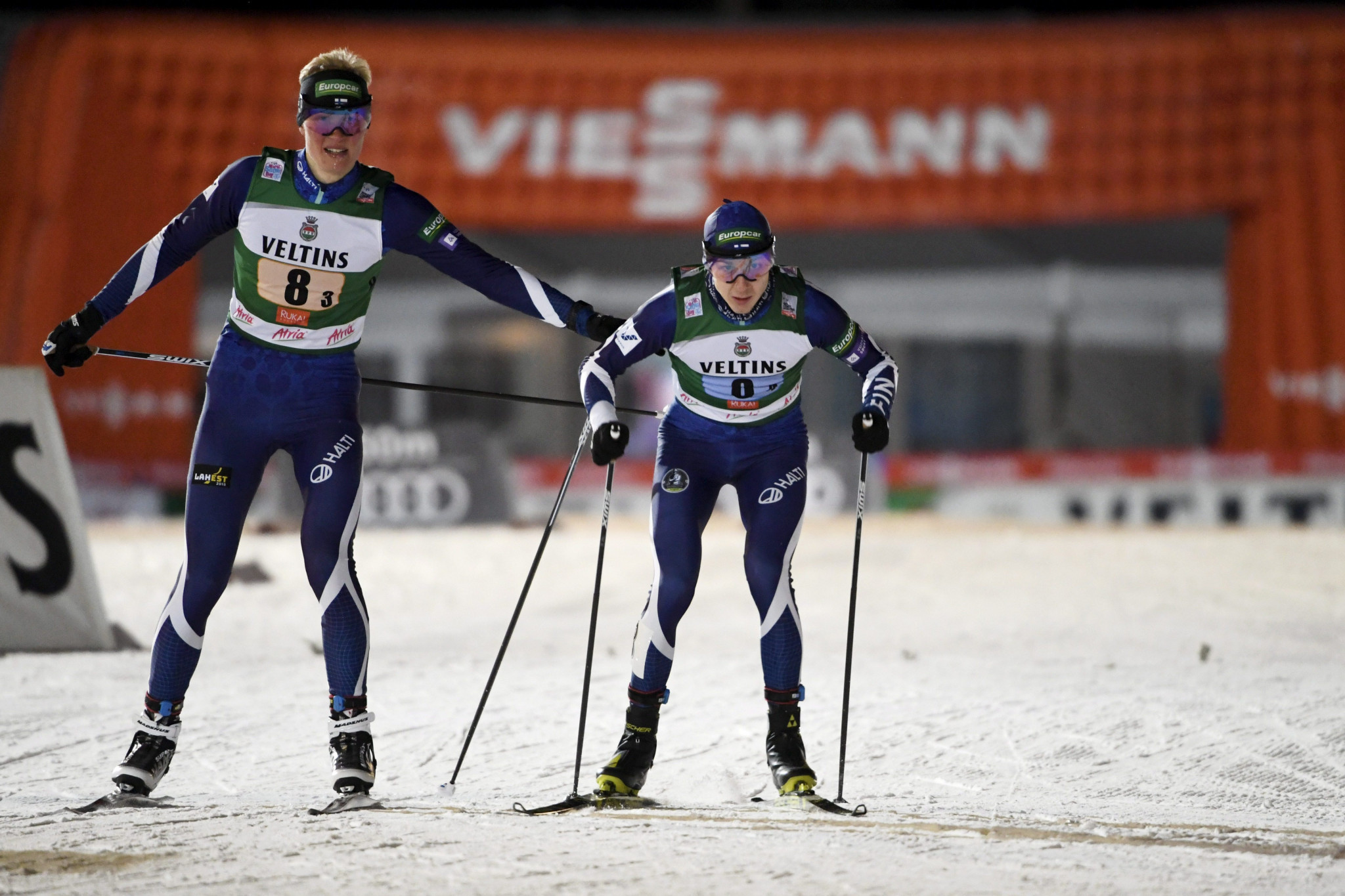 Ilkka Herola and Eero Hirvonen won the event by just 0.2 seconds from Norway's Espen Bjoernstad and Jørgen Graabak ©Getty Images