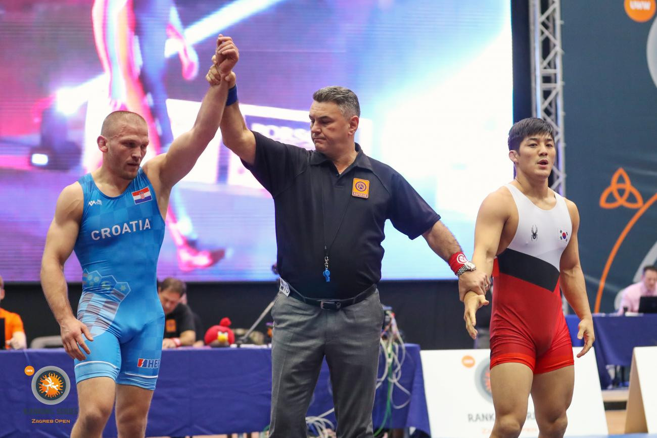 Hometown favourite Bozo Starcevic stunned London 2012 Olympic gold medallist Kim Hyeonwoo on his way to booking his place in the finals at the UWW Zagreb Open for the fifth consecutive year ©UWW