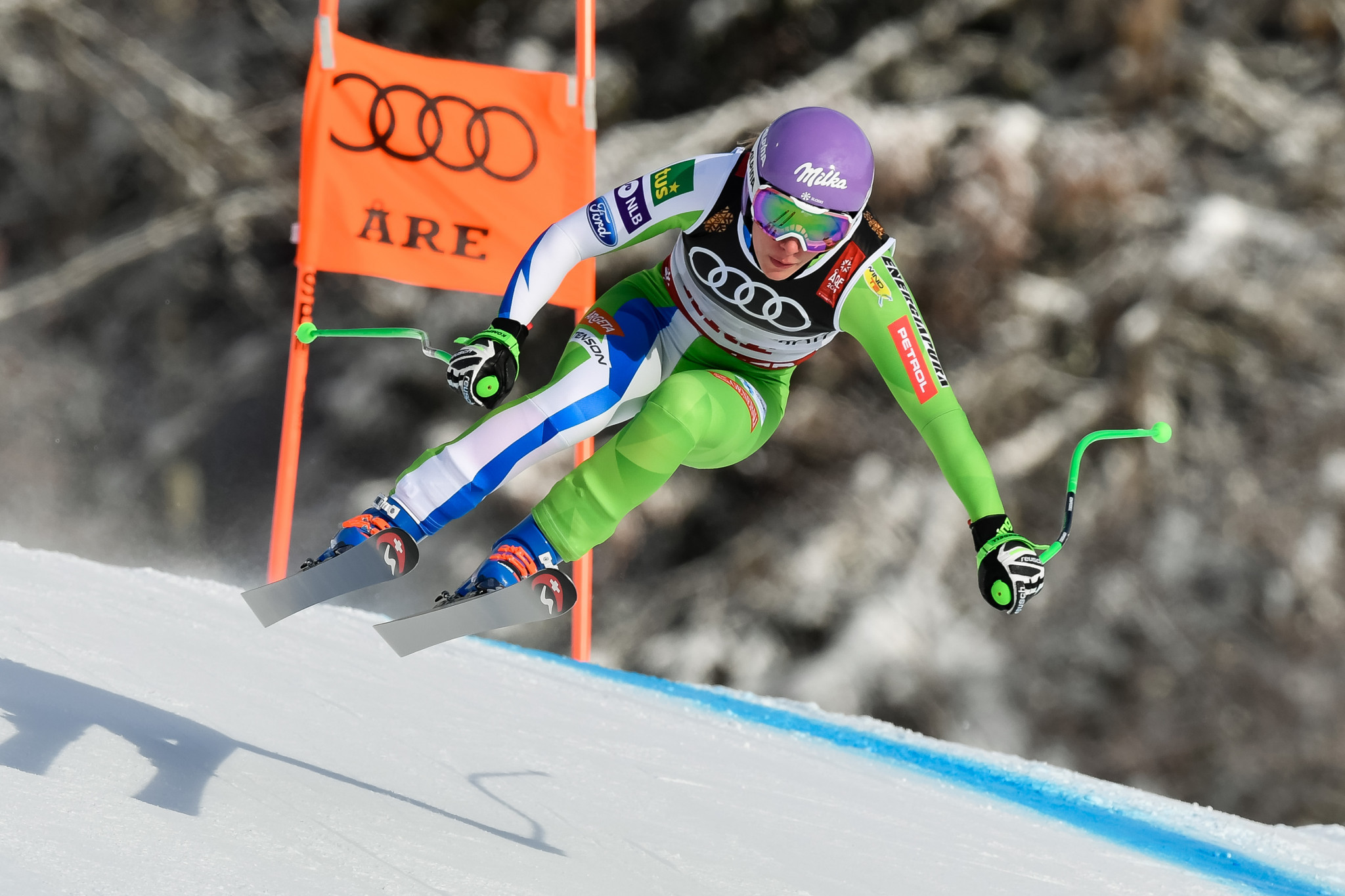 The Slovenian was seeking to defend her downhill title ©Getty Images