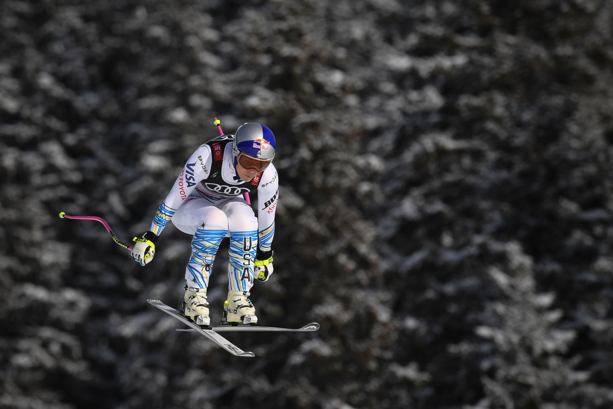 Lindsey Vonn briefly held the race lead in the final race of her career ©Getty Images