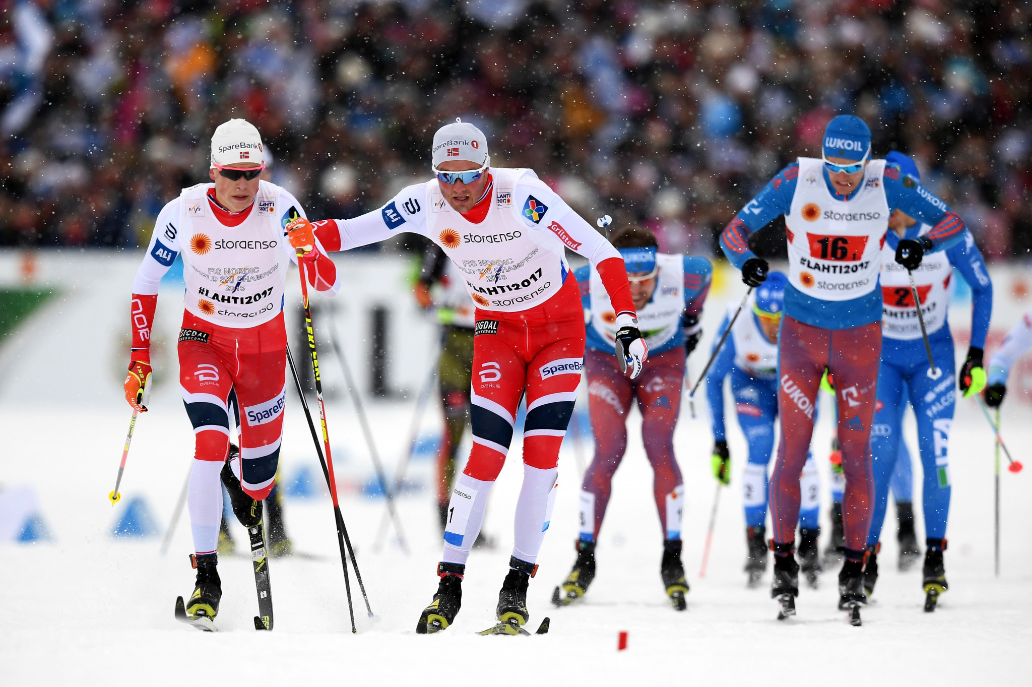 Johannes Høsflot Klæbo and Emil Iversen won the men's race for Norway ©Getty Images