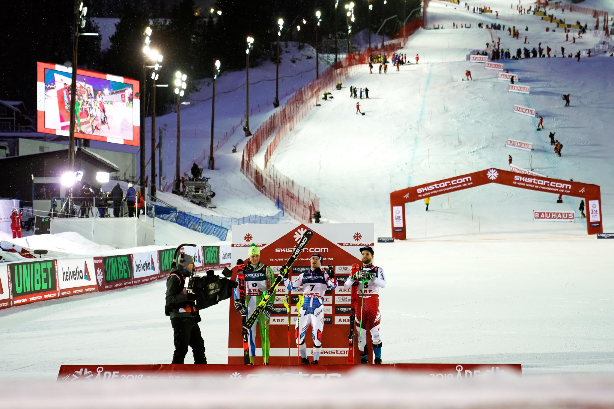 A ceremony took place at the bottom of the competition slope ©Getty Images