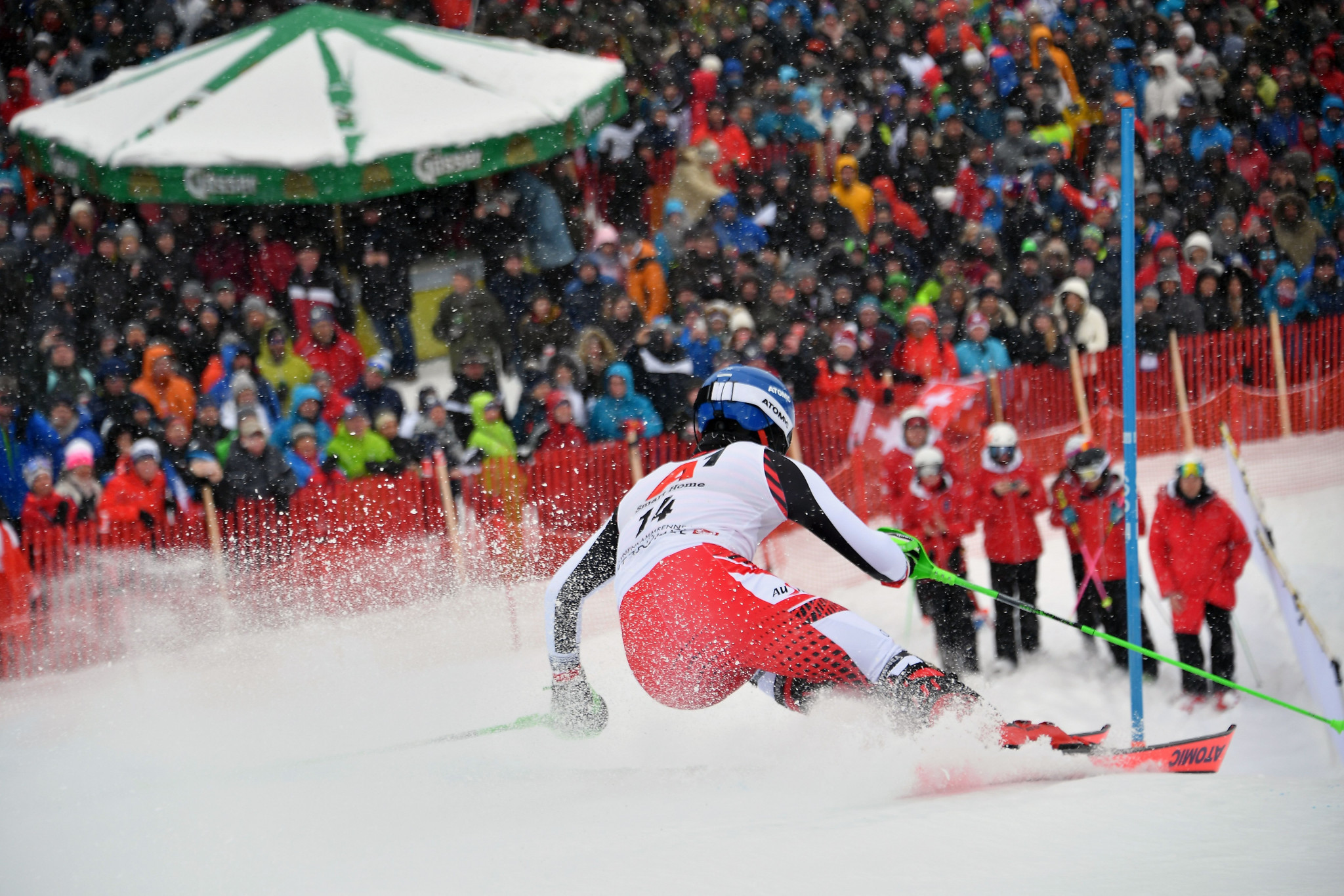 Austria's Marco Schwarz proved a strong slalom skier to round off the medal positions ©Getty Images