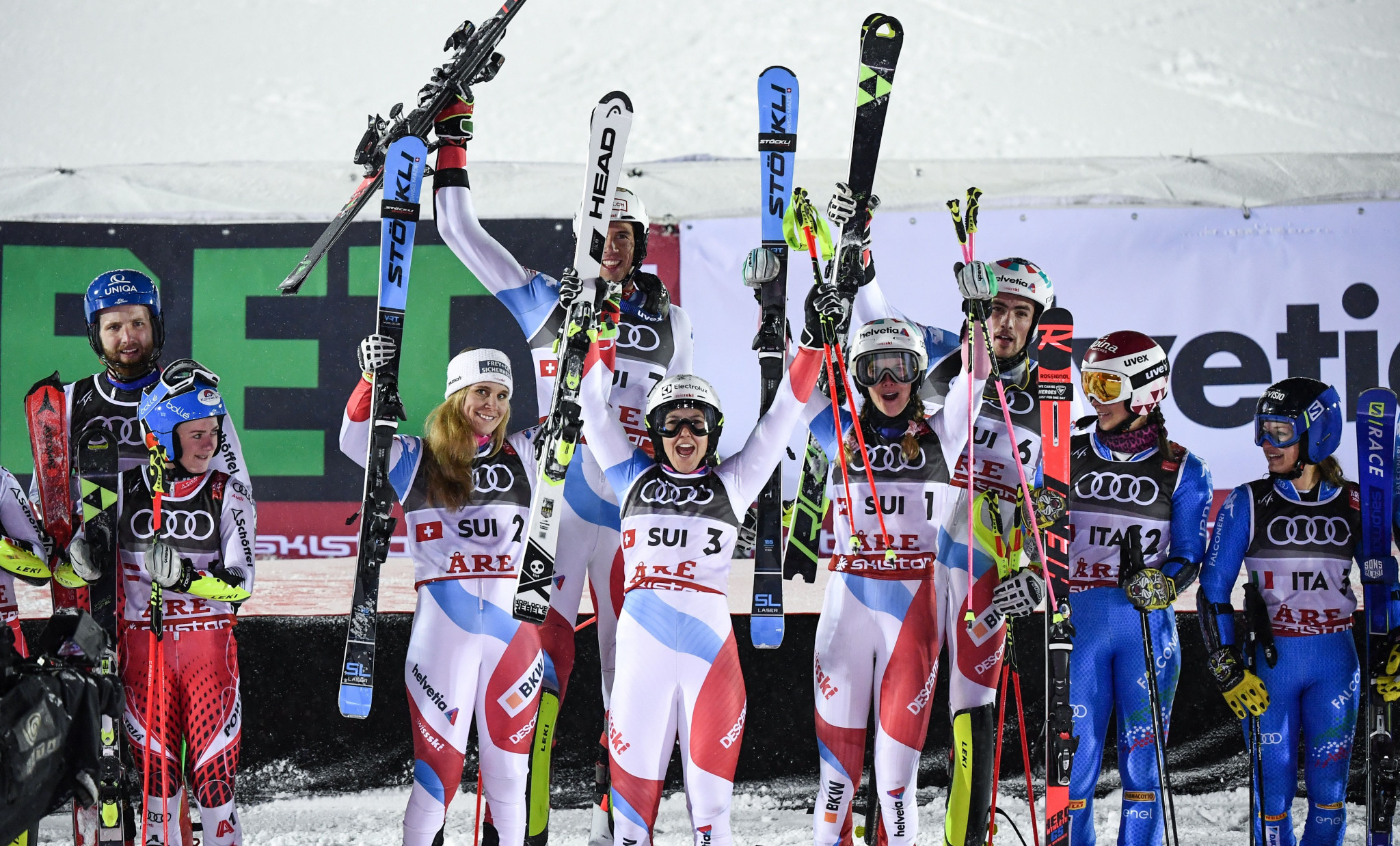 Olympic champions Switzerland win mixed team event at Alpine Skiing World Championships