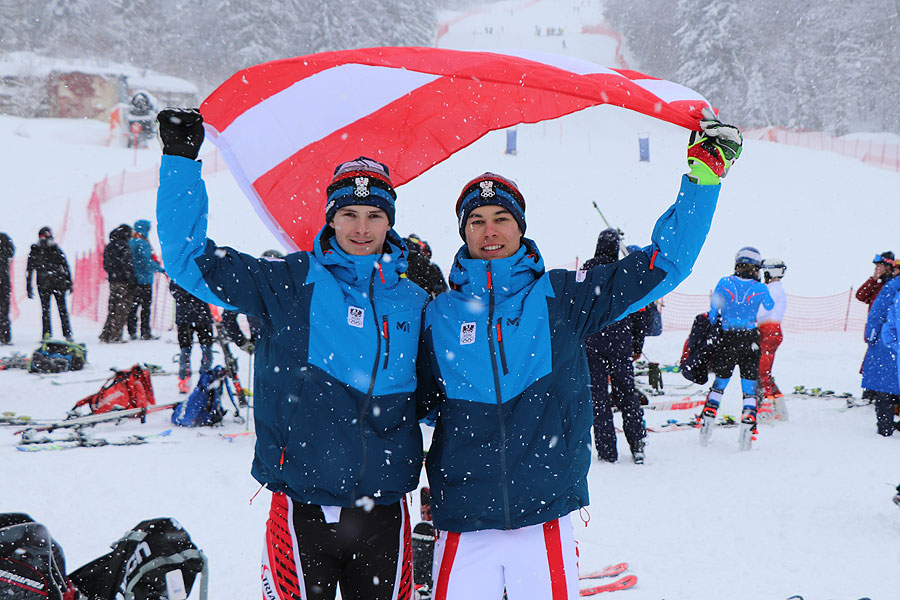 Austria celebrated boys' slalom gold and bronze medals ©Austrian Olympic Committee