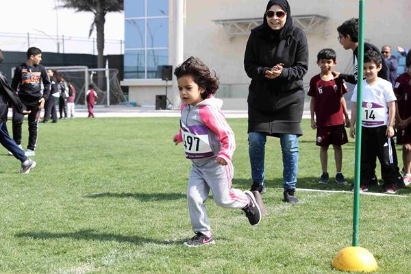 During the ceremony 490 school children took part in various activities introducing them to the basics of athletics ©Doha 2019