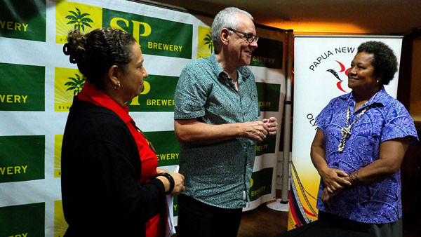 PNGOC secretary general and International Olympic Committee member Auvita Rapilla attended the signing ceremony alongside SP Brewery managing director Stan Joyce ©PNGOC