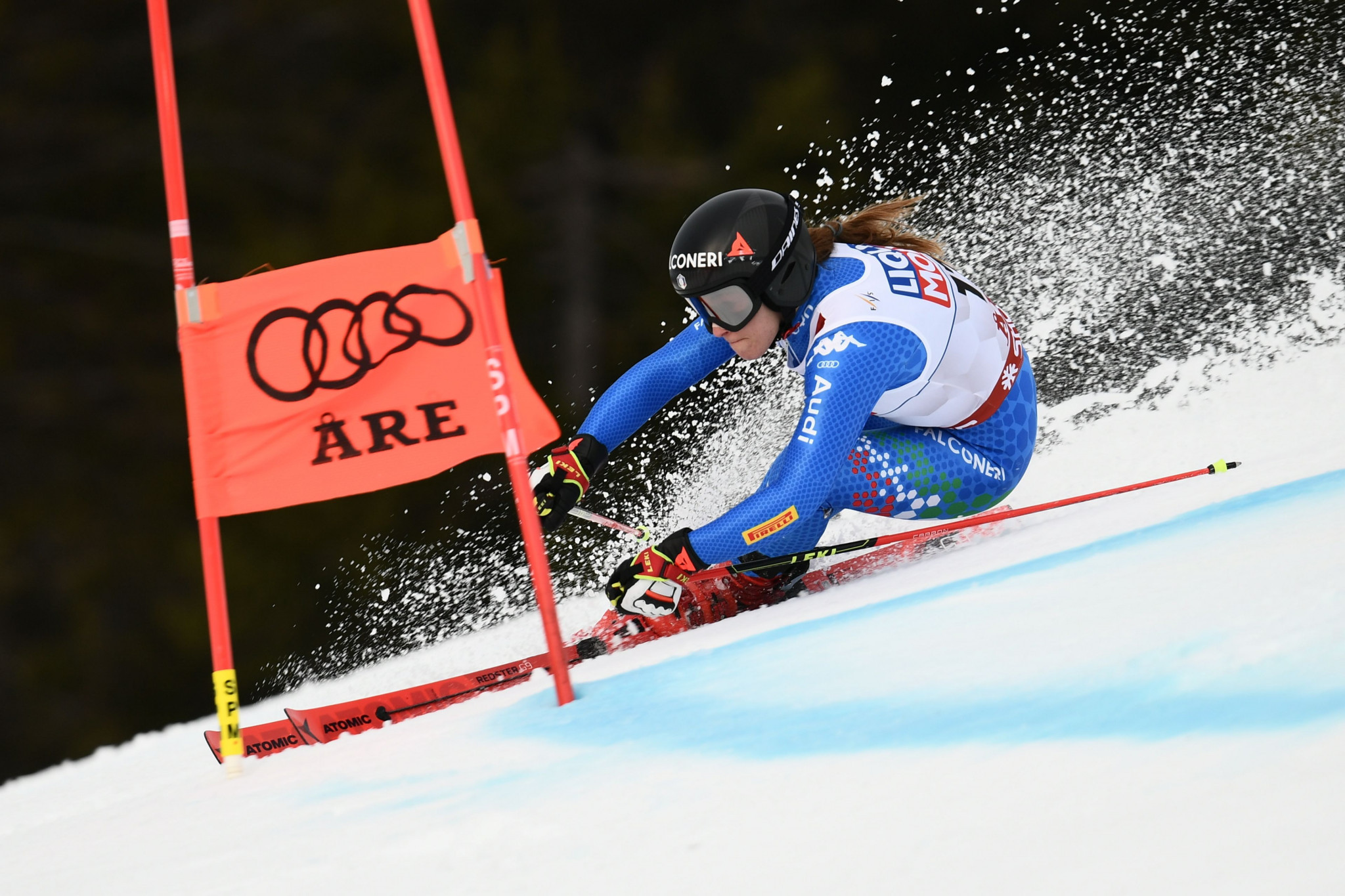 Amid difficult conditions the Olympic downhill champion Sofia Goggia was among several athletes to crash out ©Getty Images