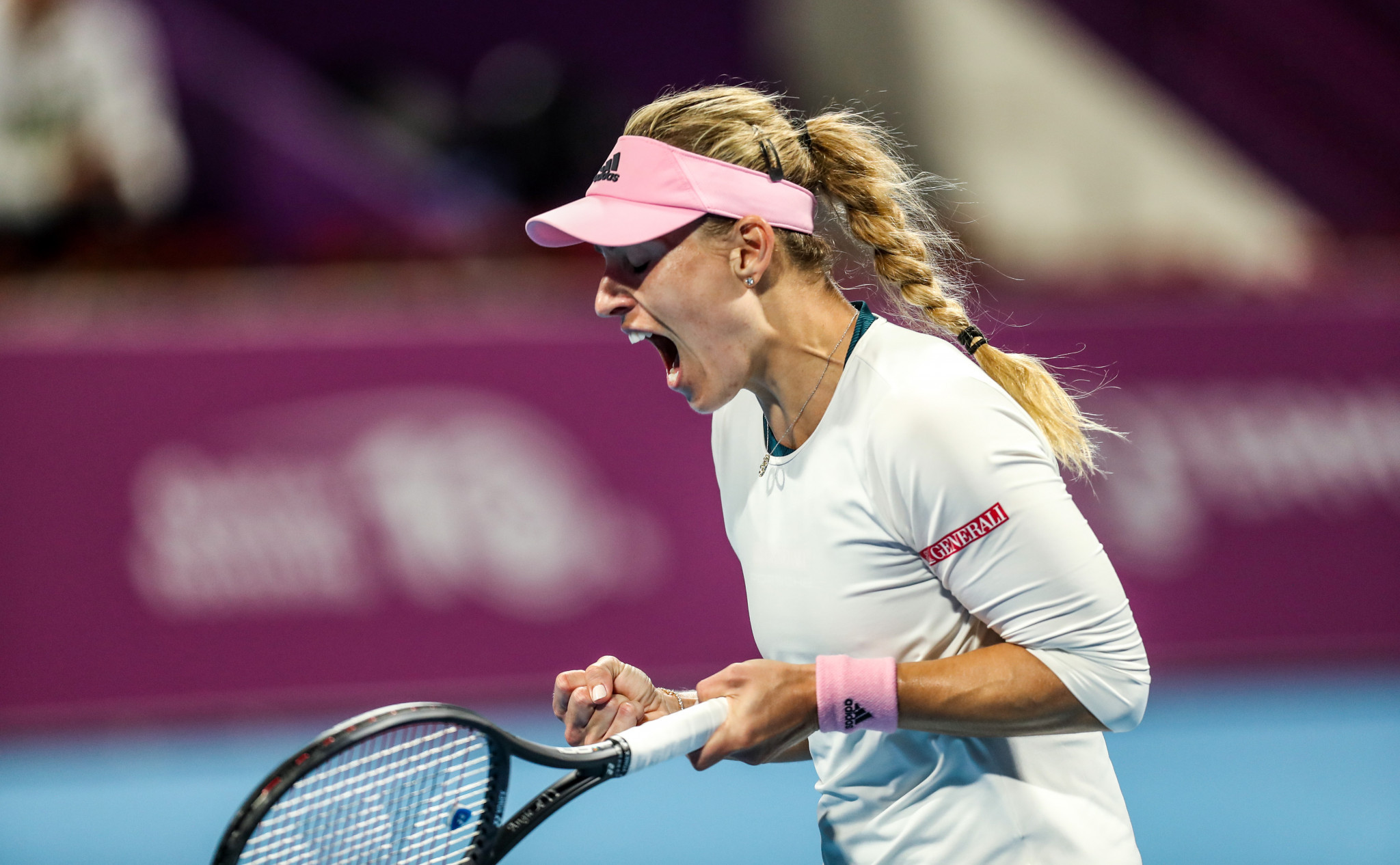 Germany's Angelique Kerber celebrates defeating Barbora Strýcová of the Czech Republic in the quarter-final of the WTA Qatar Open ©Getty Images