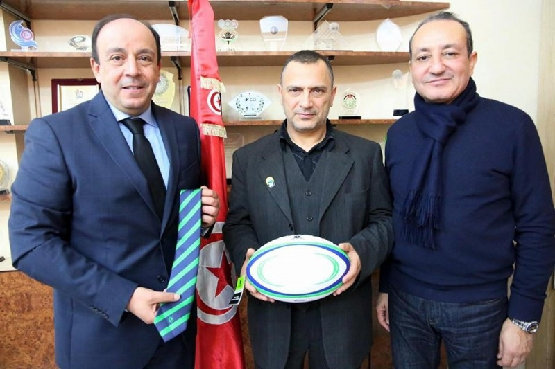 Tunisia's Khaled Babbou, left, is one of two candidates to have been confirmed for the Presidency of Rugby Africa ©Fédération Tunisienne de Rugby/APO Group