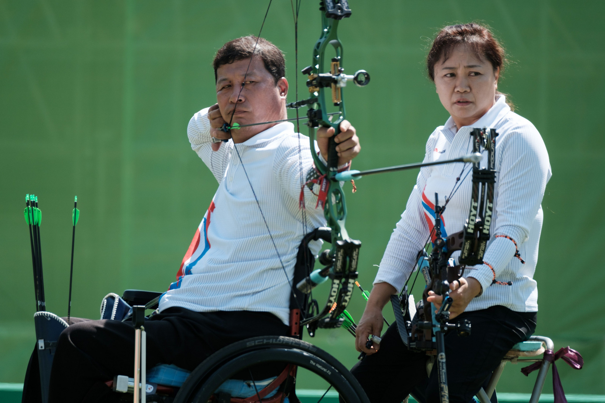 Rio 2016 bronze medallist Lee Ouk Soo won gold in the men's compound at the IWAS World Games in Sharjah ©Getty Images