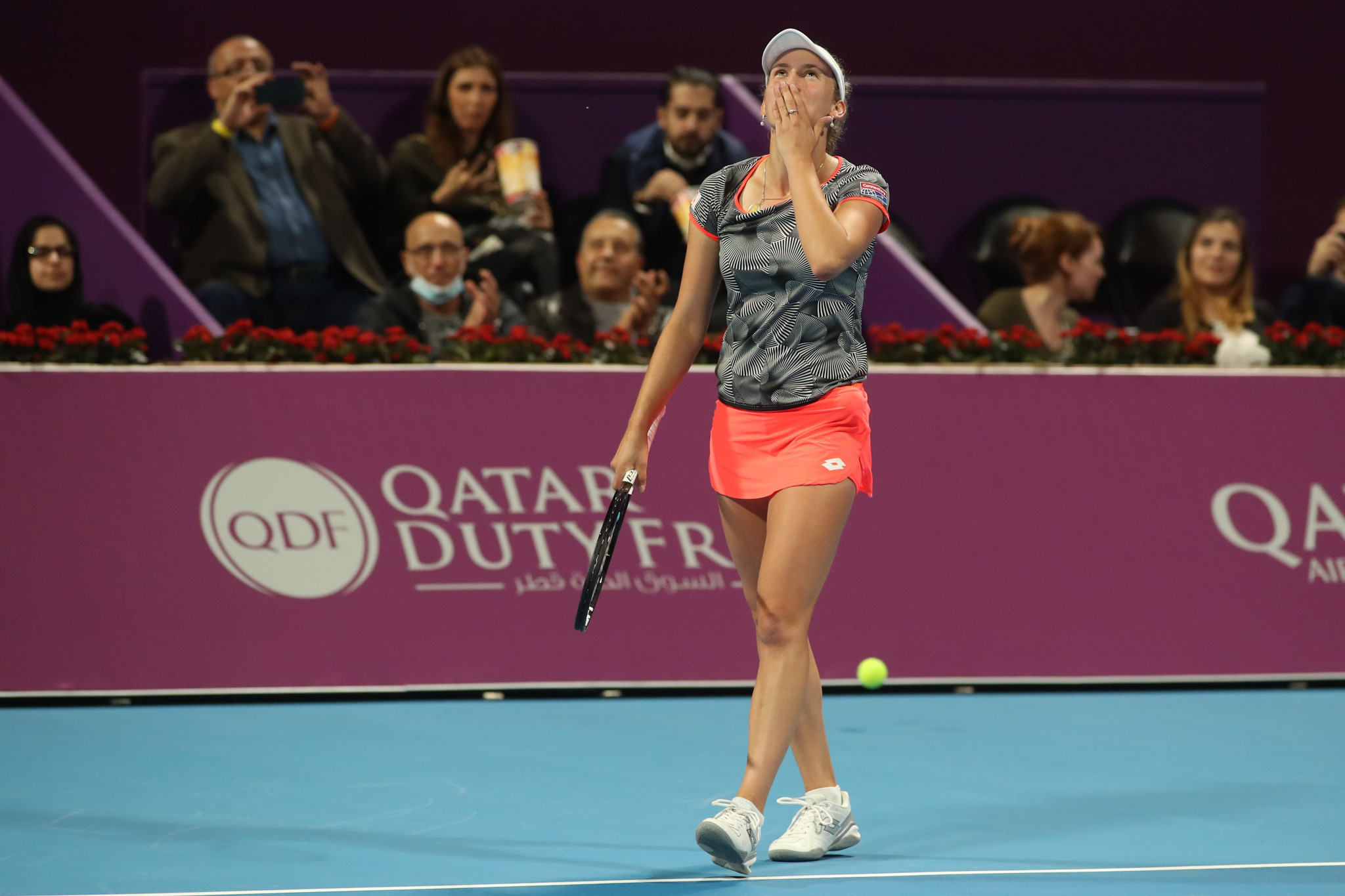 Belgium's Elise Mertens celebrates after winning her semi-final against Germany's Angelique Kerber in Doha ©Getty Images