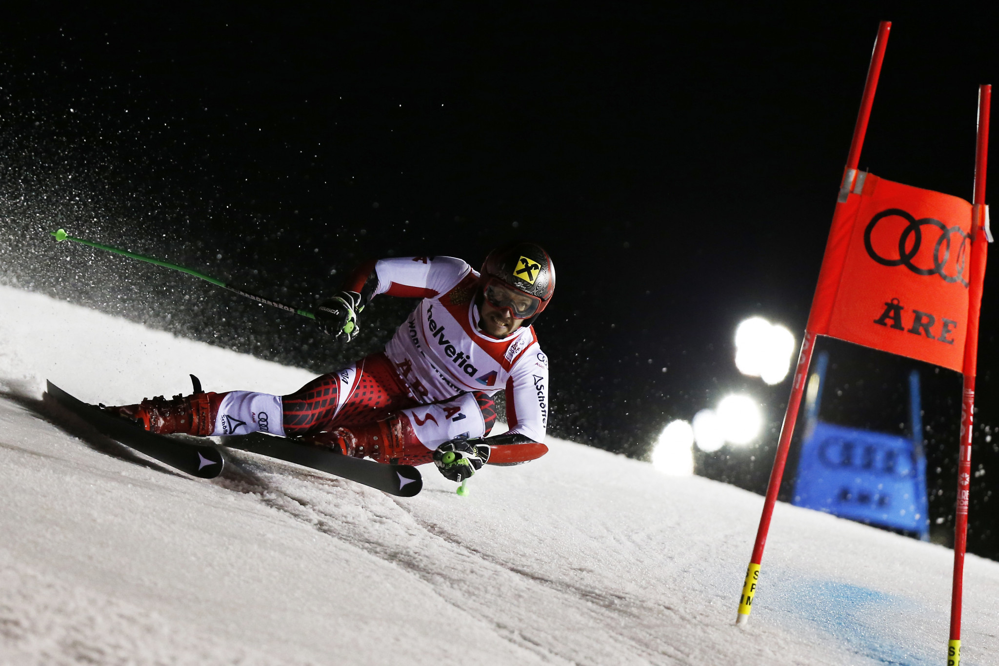 Austria's defending champion Marcel Hirscher had to settle for the silver medal ©Getty Images