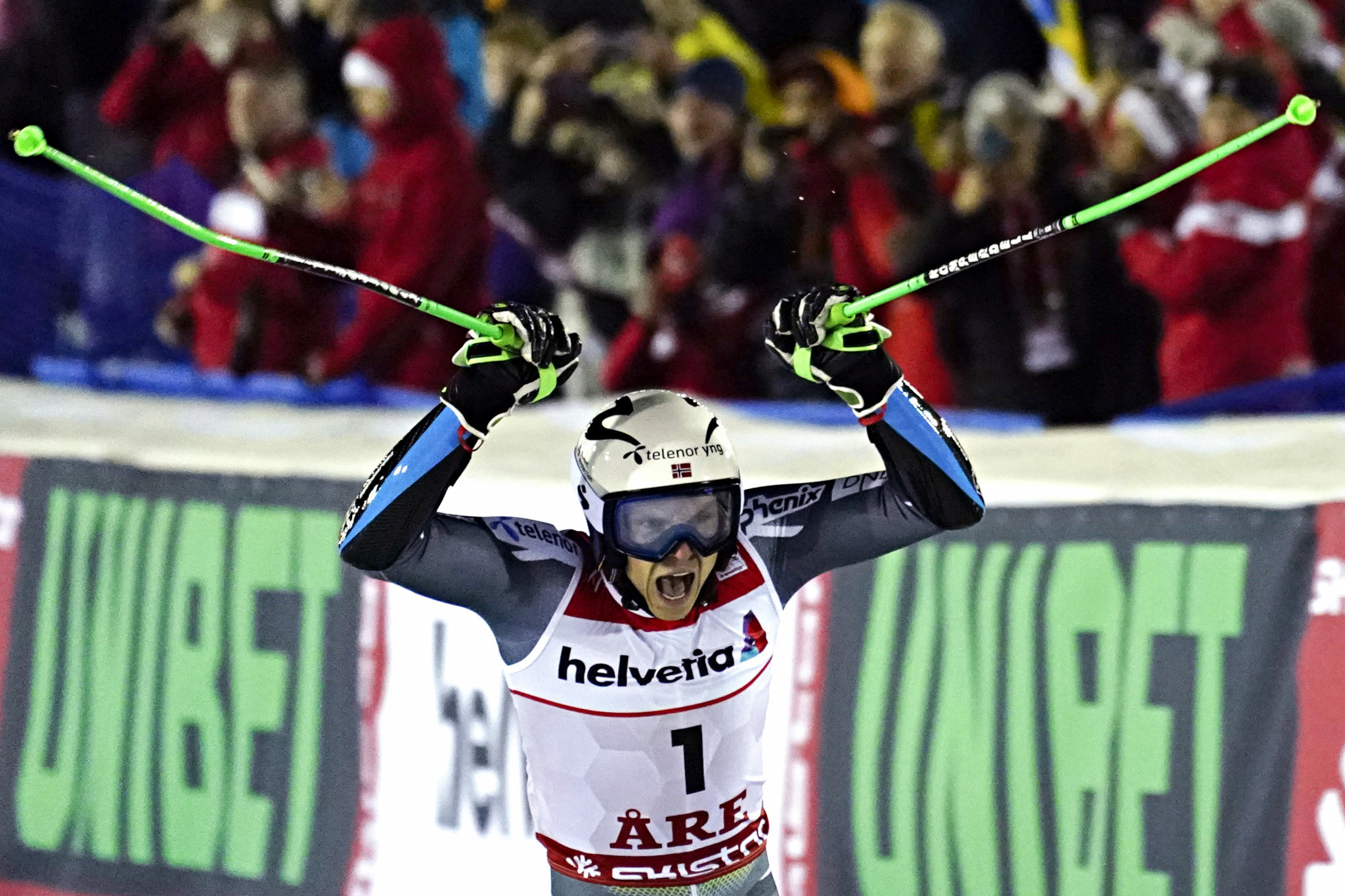 Norway's Henrik Kristoffersen produced a sensational second run to claim the men's giant slalom gold medal at the FIS Alpine World Ski Championships in Åre in Sweden ©Getty Images