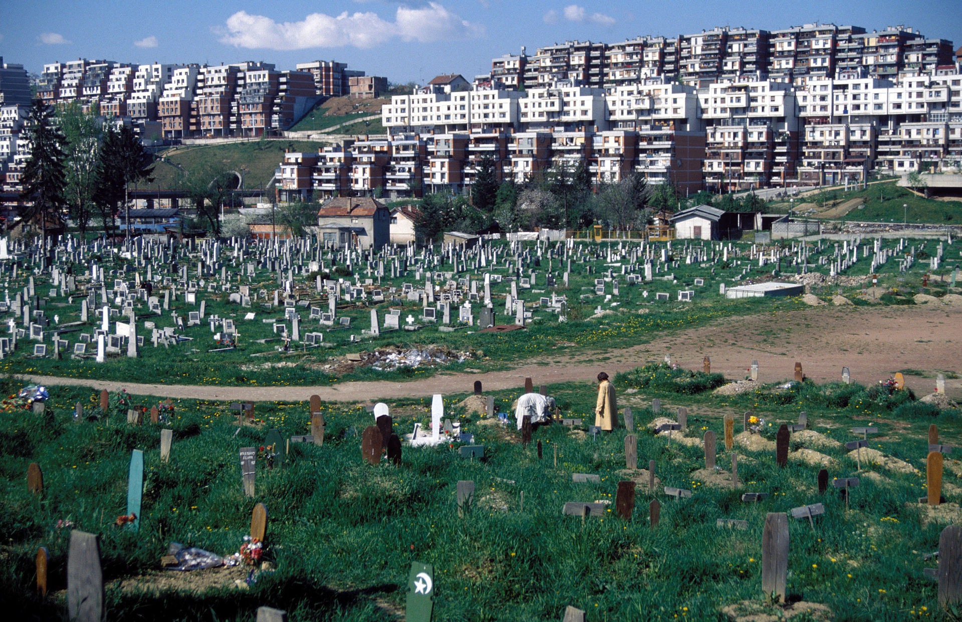 A cemetery for 12,000 killed during the Bosnian War was visible from the Koševo City Stadium ©Wikipedia