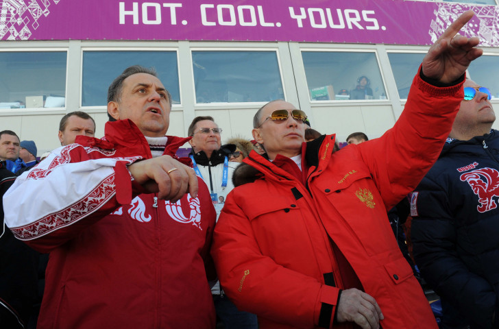 Then Russian Sports Minister Vitaly Mutko, left, and Russian President Vladimir Putin attend Sochi 2014 together ©Getty Images