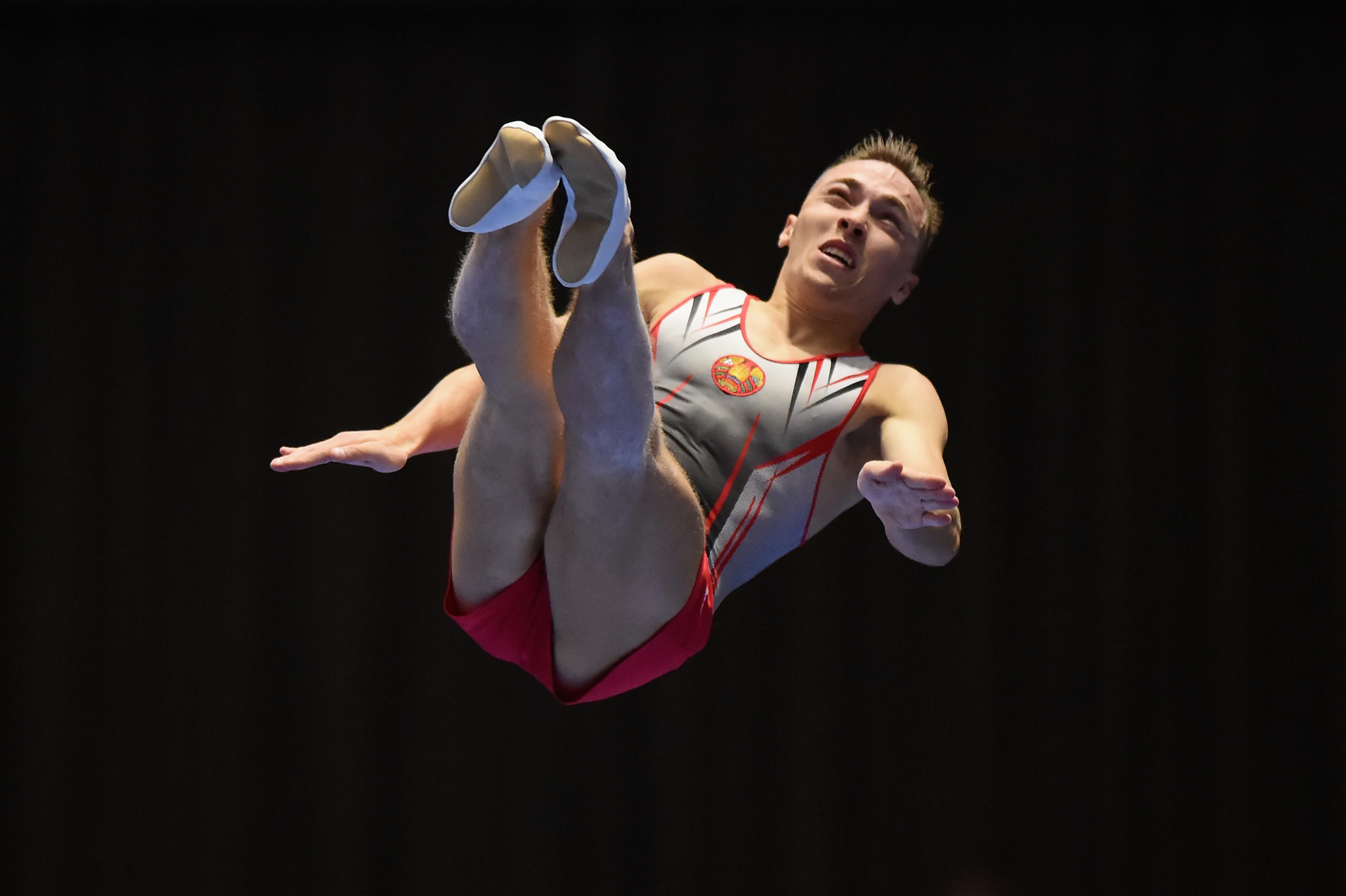 Olympic champion Uladzislau Hancharou topped men's qualifying in the individual trampoline event at the FIG Trampoline World Cup ©Getty Images